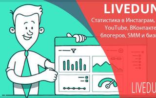 Просмотр статистики группы во ВКонтакте с помощью онлайн-сервиса LiveDune