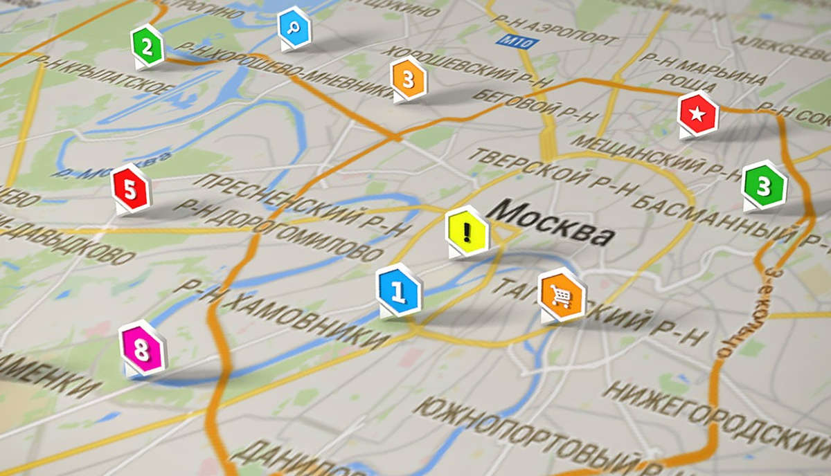 Карта Москвы с геометками