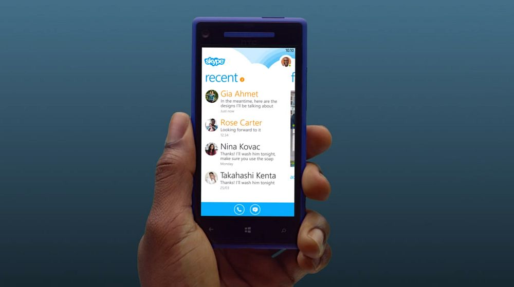 Skype на экране Windows Phone