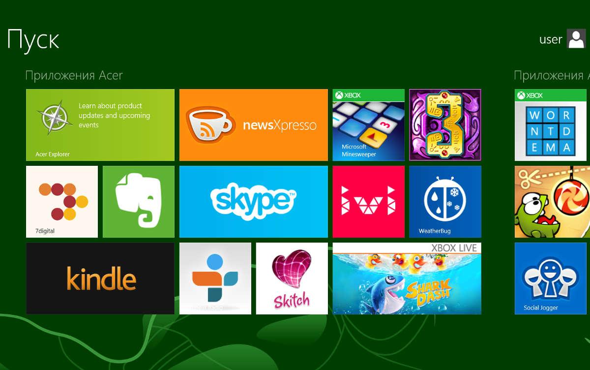 Плитки на экране Windows
