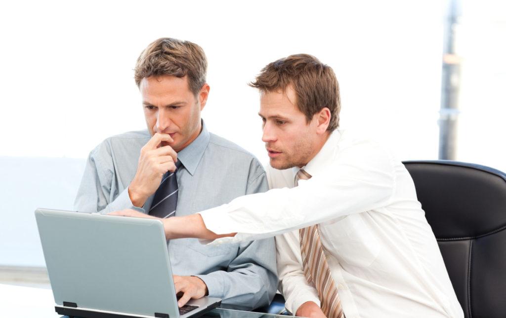 Два бизнесмена перед ноутбуком